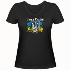 Жіноча футболка з V-подібним вирізом Слава Україні