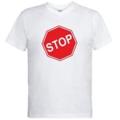 Купити Чоловічі футболки з V-подібним вирізом STOP