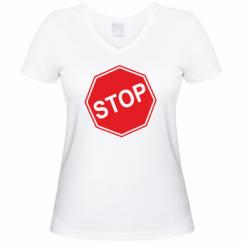 Купити Жіноча футболка з V-подібним вирізом STOP