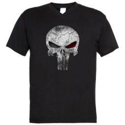 Чоловічі футболки з V-подібним вирізом The Punisher Logo