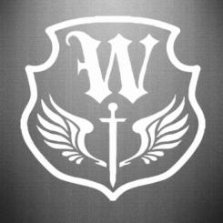 Наклейка W на щиті